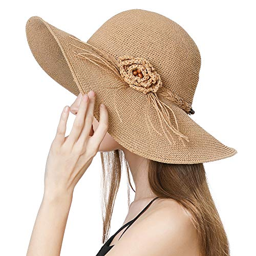 Womens Floppy Foldable Cloche Derby Straw Sun Hat Fedora Summer Wide Brim Beach Beige