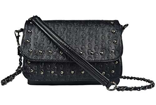 Crossbody Bag Women Pu Leather Gothic Skull Shoulder Bag with Chain ()