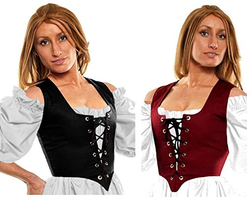 Faire Lady Designs Women's Renaissance Costume Reversible Pirate Wench Bodice Burgundy/Black (XS:Bust: 33