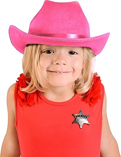 Child's Pink Country Cow Girl Cowboy Hat And Badge Accessory Kit (Daisy Duke Fancy Dress)