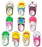 Bassion 10 Pairs Baby Socks Non Slip Newborn Infant Cute Baby Ankle Cotton Socks Skid Toddler Gripper Socks 6-18 Months