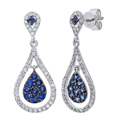 Naava 0.47ct en or blanc 18 carats avec saphir et diamant 0,33 carat-Boucles d'oreilles pendantes