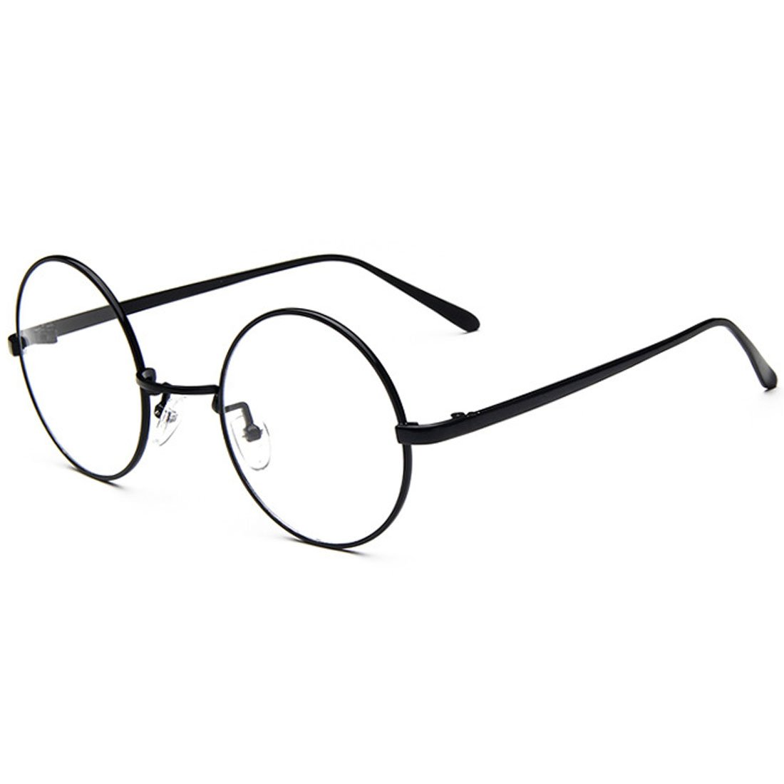 89df24c1cc0 Amazon.com  D.King Oversized Vintage Round Retro Large Metal Frame Clear  Lens Eyeglasses Black  Clothing