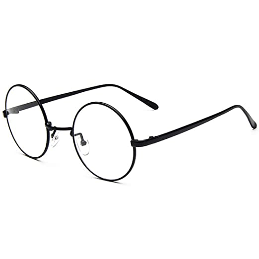62cbf25d5a3 D.King Oversized Vintage Round Retro Large Metal Frame Clear Lens  Eyeglasses Black