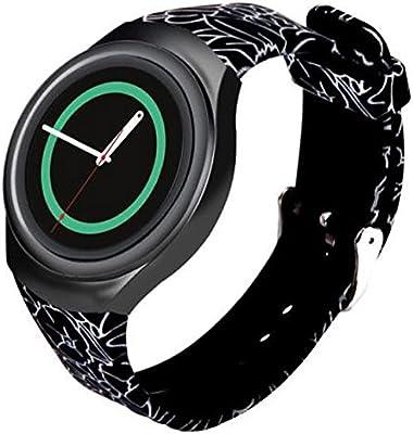 for Samsung Gear S2 Watch Band - Soft Silicone Sport Replacement Band for Samsung Gear S2 Smart Watch SM-R720 SM-R730 Version Black Flower