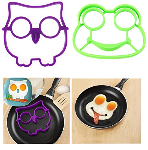Kemilove Silicone Owl,Rabbit,Frog Shaped Fried Eggs Fried Eggs Shaper Breakfast Kitchen Cooking Tool (Owl+Frog)