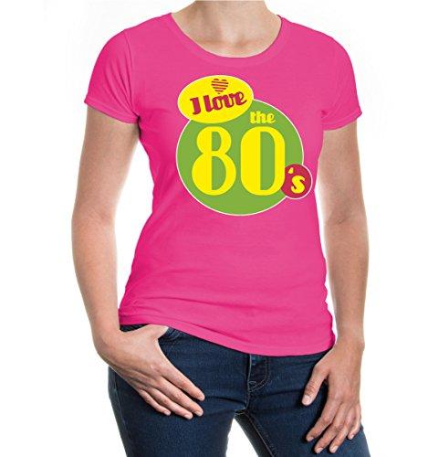 buXsbaum® Girlie T-Shirt I love the 80s Fuchsia