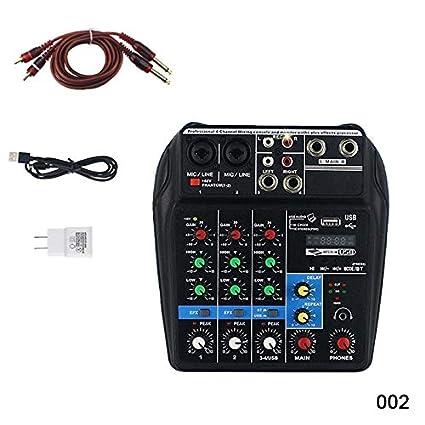 Acutty Mini USB Mezclador de Audio Amplificador Amplificador Bluetooth Board 48V Phantom Power 4 Canales para