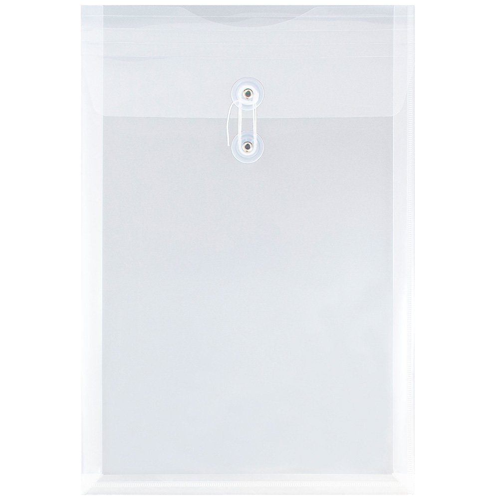 JAM PAPER Plastic Envelopes with Button & String Tie Closure - Legal Open End - 9 3/4 x 14 1/2 - Clear - 12/Pack
