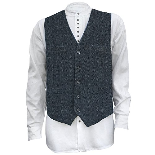 The Celtic Ranch Men's Irish Full Back Herringbone Tweed Wool Blend Vest In 3 Traditional Color Choices (Navy, L) (Belted Tweed)