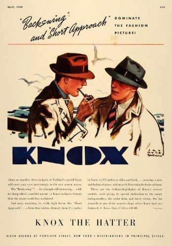 1938 Ad Knox Backswing Short Approach Hat Men's Fashion - Original Print (Corporate Mens Short)