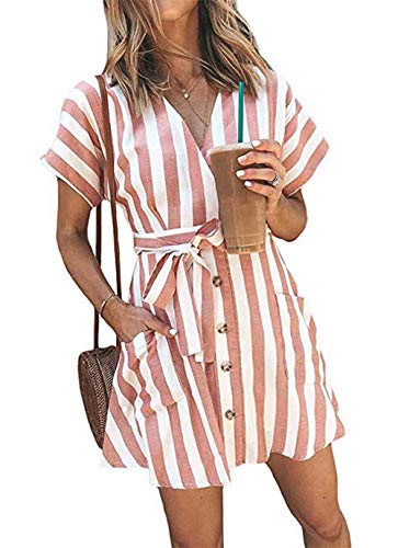 OEUVRE Fashion Striped Short Sleeve Wrap V-Neck Casual Summer Button Down Mini Short Shirt Dress with Belt Pink M