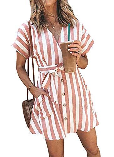 OEUVRE Women V Neck Short Sleeve Wrap Tie Waist Button Down Shirt Dress Striped Pocket Dress with Belt Pink M