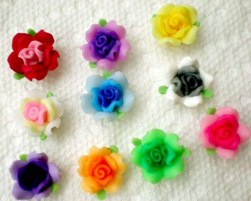 Beading Station 20-Piece Handmade Leafy Clay Rose Flower Beads, 15mm, Multicolor