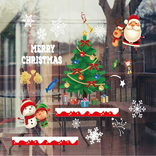 White Snowflakes Window Clings with Large Christmas Tree, Santa Claus, Snowman, Reindeer, Xmas Holiday Colored Window Decals, Reusable Static Sticker Decorations Winter Wonderland for Party Supplies