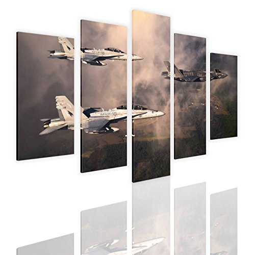 Alonline Art - Fighter Jets In Clouds by Split 5 Panels | framed stretched canvas on a ready to hang frame - 100% cotton - gallery wrapped | 48