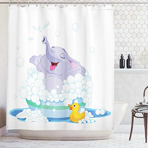 (Ambesonne nursery decor Collection, Elephant Takes Bubble Bath in Basin with Duck Wet Water Games Wildlife Animals Artprint, Polyester Fabric Bathroom Shower Curtain, 84 Inches Extra Long, Multi)