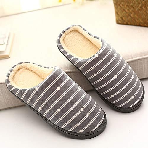 NUWFOR Men Warm Gingham Plush Soft Slippers IndoorsAnti-Slip Floor Bedroom Shoes(Gray,10.5-12 M US) by NUWFOR (Image #2)