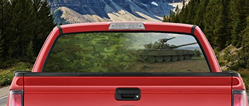Military Green Camo American Tank in the Desert Sand Full Color Back window graphic Decal Truck Backscape 55 X 24 Inches (Desert Tank Camouflage)