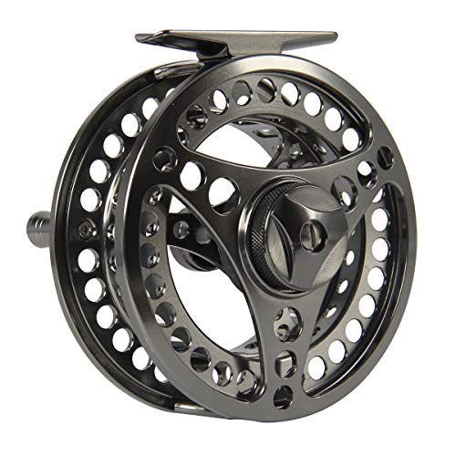 ANGLER DREAM AnglerDream EX-ALC Fly Reel 9/10WT CNC Machined Aluminum Fly Fishing Reel Silver/Gunsmoke Fly Reels (Fly Reel 10)