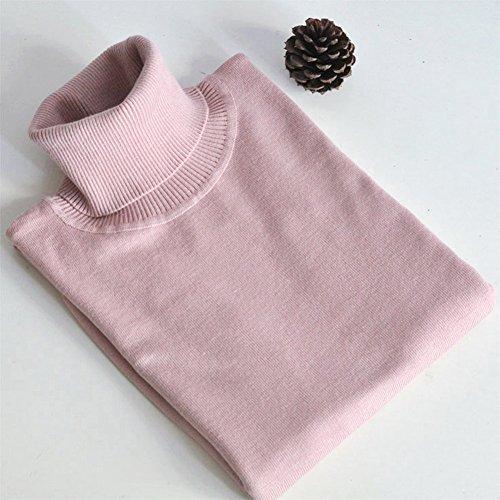 Rosa Maglione Pullover Sweater Solido Turtleneck Maniche Basic Collo Romacci Alto Lunghe Donna Dolcevita 7nP5wxqUS
