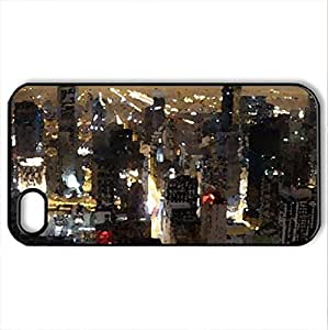 beautiful chicago skyline at night - Case Cover for iPhone 4 and 4s (Skyscrapers Series, Watercolor style, Black)