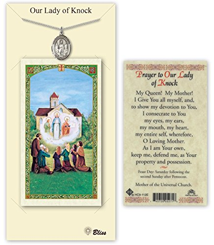 Pewter Our Lady of Knock Medal with Laminated Holy Prayer Card (Knock Prayer Card)