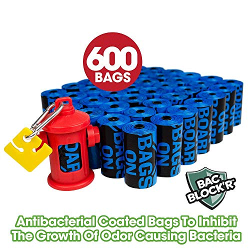 Bags on Board Dog Poop Bags | Strong, Leak Proof Dog Waste Bags | 9 x14 Inches, 600 Blue Bags
