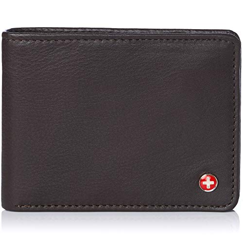 Alpine Swiss Mens RFID Safe Leather Wallet Slim Flip-out Bifold Trifold Hybrid Soft Nappa Brown ()