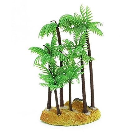 Amazon.com : eDealMax plástico acuario Artificial acuática Palma de Coco, 14.5cm, Verde : Pet Supplies