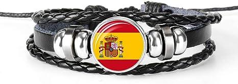 Pulsera trenzada de cuero con la bandera de España, recuerdo de cristal, pulsera hecha a mano para hombre y mujer, regalo especial de día: Amazon.es: Deportes y aire libre