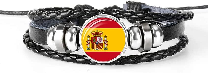 Pulsera trenzada de cuero con la bandera de España, recuerdo de ...
