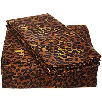 Sleep Well Bedding Animal Print Leopard 4pcs Sheet Set Queen Size 100% Egyptian Cotton Pocket deep -18