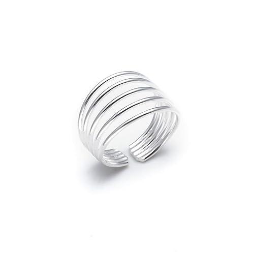Silverly Frauen 925 Sterling Silber Five Band justierbar poliert Zehenring