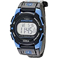 Timex Unisex T49660 Expedition Mid-Size Digital CAT Gray/Blue Stripe Fast Wrap Velcro Strap Watch