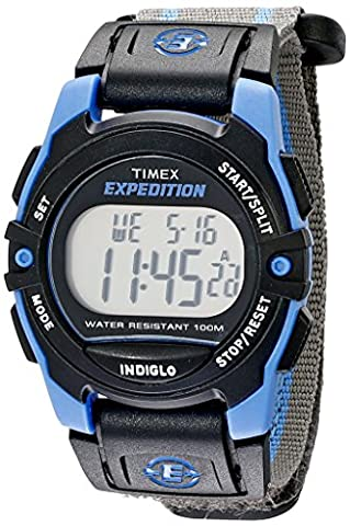 Timex Unisex T49660 Expedition Mid-Size Digital CAT Gray/Blue Stripe Fast Wrap Velcro Strap Watch - Chrono Classic Ladies Watch