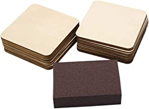 30 Pieces 4 Inch Christmas Square Unfinished Blank Wood Squares Slices Unfinished Wood with Sanding Sponge for Pyrography, Painting, Writing, Drinks DIY Craft, Photo Props and Decoration