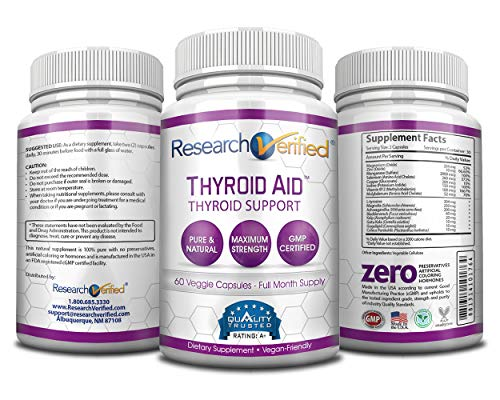 Research Verified Thyroid Aid - With Iodine, Vitamin B12, Selenium, Coleus Forskholii, Kelp, Ashwaghnada & More - 100% Pure, No Additives or Fillers - 100% Money Back Guarantee - 3 Months Supply by Research Verified (Image #2)