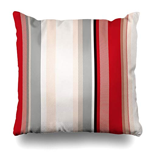 Ahawoso Throw Pillow Cover Style Beige Black Stripes Pattern Abstract White Brown Carpet Color Creative Diagonal Geometric Home Decor Pillowcase Square Size 20 x 20 Inches Zippered Cushion Case
