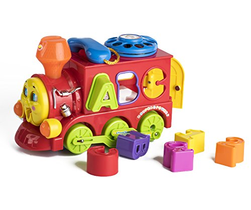 Playfulution Alphabet Blocks Electric Omni-Directional Driving Function Train with Flashing Lights and Music