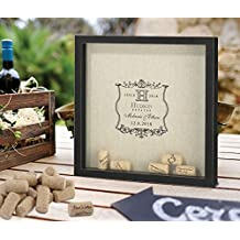 Personalized Black Keepsake Frame for Guest Signing Wine Corks - Vineyard Wedding Design