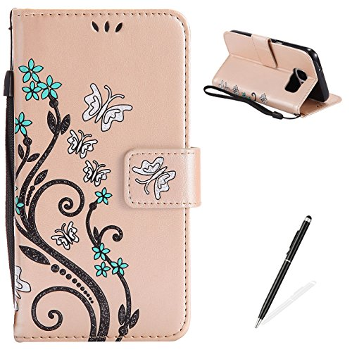 MAGQI Samsung Galaxy S7 Case, Premium Slim Fit Flip PU Leather Stand Wallet Book Style Case with Card Slots Magnetic Closure Embossed Rose Flower Butterfly Pattern Cover - Light Gold
