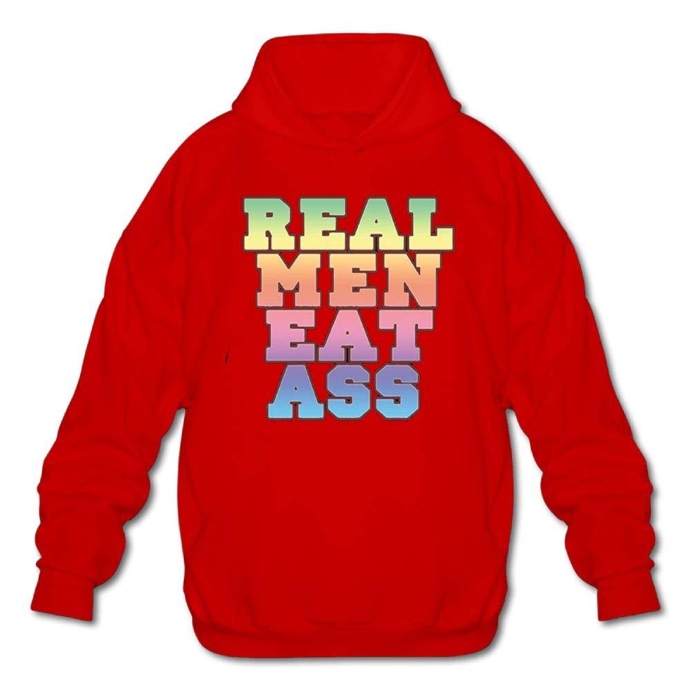 Mens Long Sleeve Cotton Hoodie Real Men Eat Ass Sweatshirt