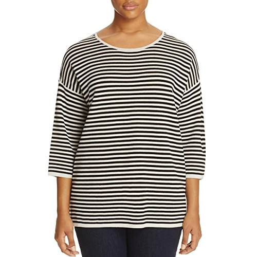 Eileen Fisher Womens Plus Silk Knit Pullover Top Black-Ivory 2X