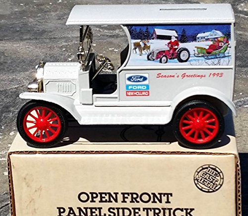 Ertl FORD NEW HOLLAND Season's Greetings 1993 Christmas 1912 Ford Open Front Panel Side Truck Bank in 1:25 Scale Diecast - Panel Bank Truck