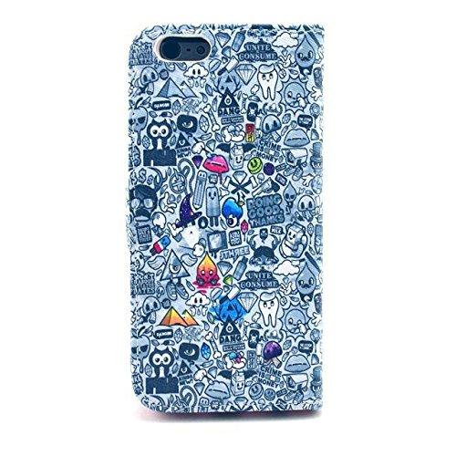 Monkey Cases® iPhone 6 4,7 Zoll - Flip Case - BUNT COMIC - cover - Premium - original - neu - Tasche