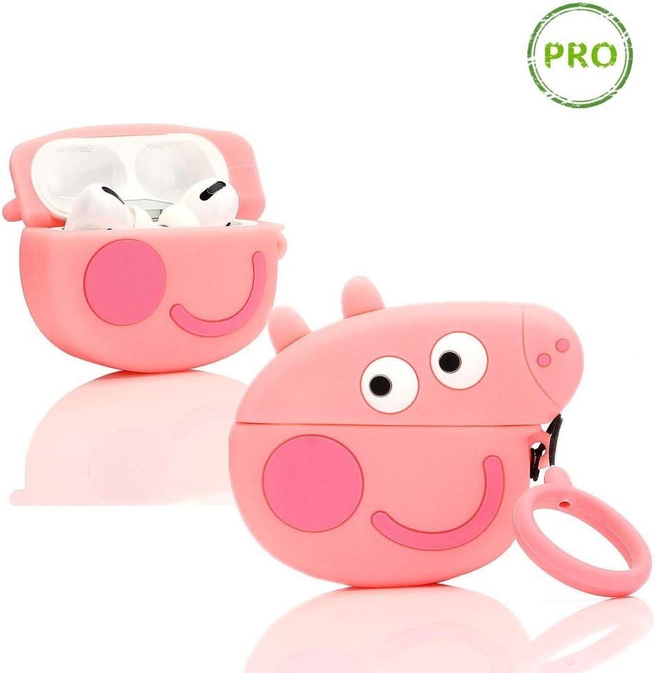 LEWOTE Airpods Pro Carcasa de Silicona para Apple Airpods Pro, Diseño de Dibujos Animados 3D, Divertido y Lindo (Peppa Pig)