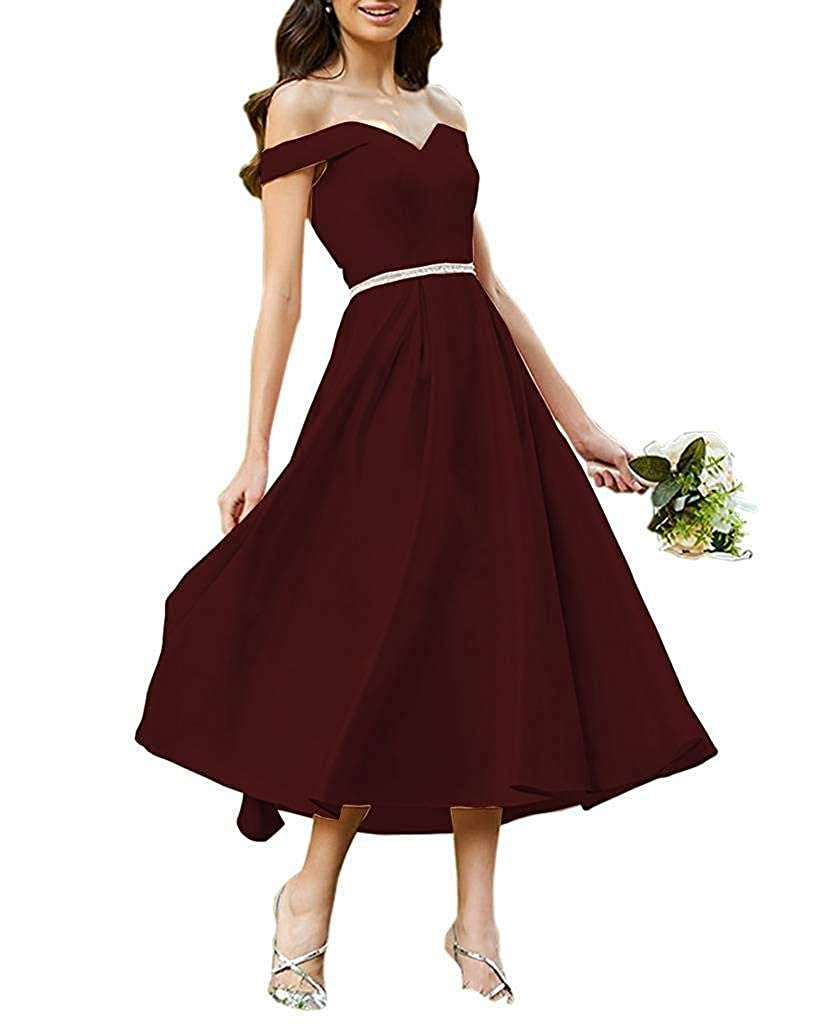 Burgundy Staypretty Bridesmaid Dresses Off Shoulder Beaded Satin Tea Length Formal Evening Prom Gowns