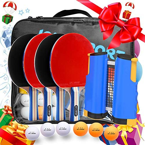Joy.J Sport Ping Pong Paddle Set with Retractable Net – 4 Premium Table Tennis Rackets – 6 Standard 3-Star Balls, Portable Cover Case Bag