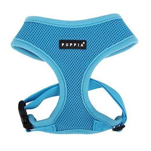 Puppia Soft Dog Harness, Sky Blue, Medium (Harness Blue Dog)